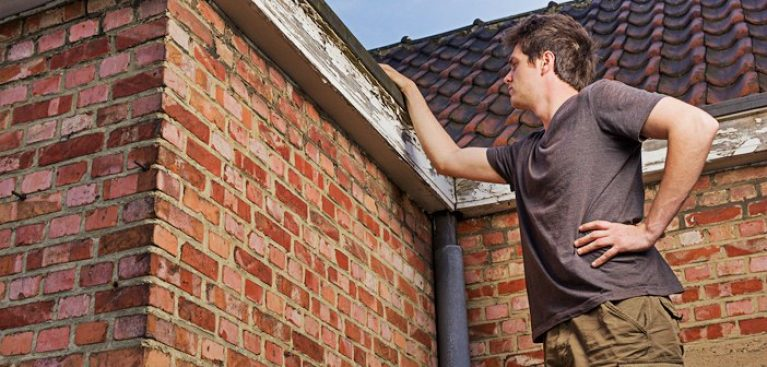 Man inspecting home exterior